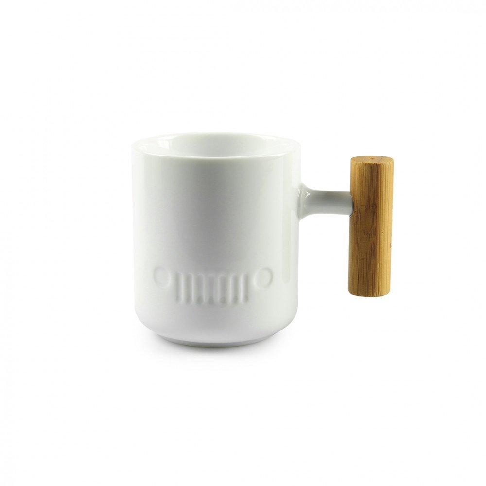 White jeep porcelain mug with wooden handle gift ideas for Mug handle ideas