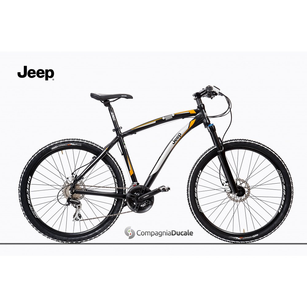 Black Jeep Mountain Bike With Orange Decoration