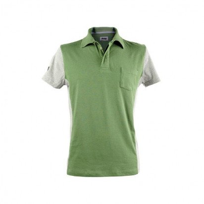 TWO-TONE DARK GREEN/GREY SHORT-S. MEN'S JEEP POLO SHIRT