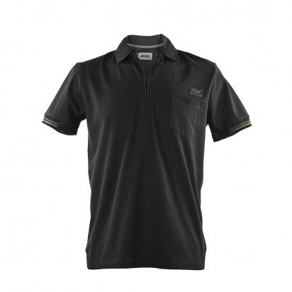 BLACK SHORT-S. MEN'S JEEP JERSEY POLO SHIRT WITH GREEN DETAILS
