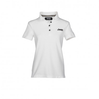 WHITE SHORT-S. WOMEN'S VINTAGE JEEP COTTON POLO SHIRT