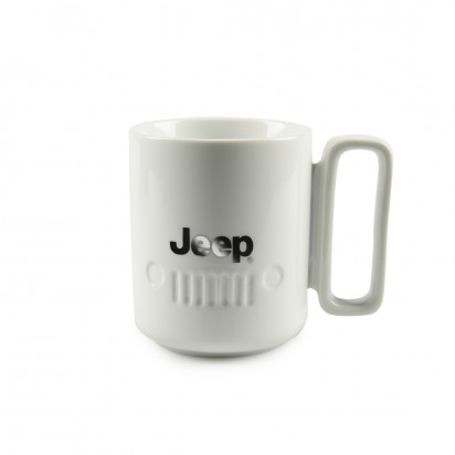GIANT WHITE JEEP MUG WITH CHROME HANDLE