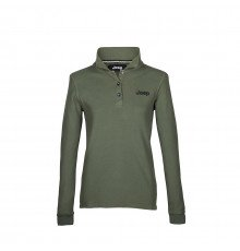 DARK GREEN LONG-S. WOMEN'S VINTAGE JEEP COTTON POLO SHIRT