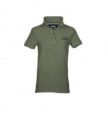 DARK GREEN SHORT-S. WOMEN'S VINTAGE JEEP COTTON POLO SHIRT