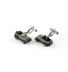 CAR-SHAPED GREEN METAL JEEP WRANGLER CUFFLINKS