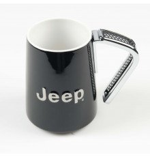 BLACK JEEP PORCELAIN MUG WITH METAL HANDLE